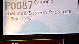 P0087: zema spiediena kļūda degvielas sistēmā